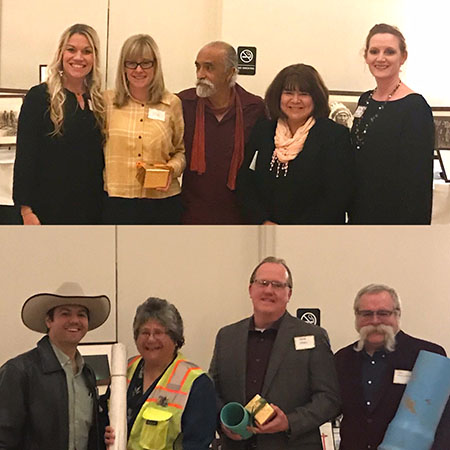 Top: Suzanne Lawry-Hall and Jona Pressman of UCCE, Washington Quezada of CHIP, Sonia Rodriguez and Rita Palmer of UCCE. Bottom: Jeffrey Rabo, RAR, Debbie Villasenor, Housing Consultant, Herb Votaw and Ken Skillman of RAR.